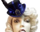 Blue Royal Tea Mini Victorian Steampunk Fascinator Top Hat