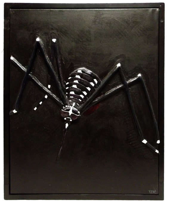 It's The Small Things original mosquito horror painting relief