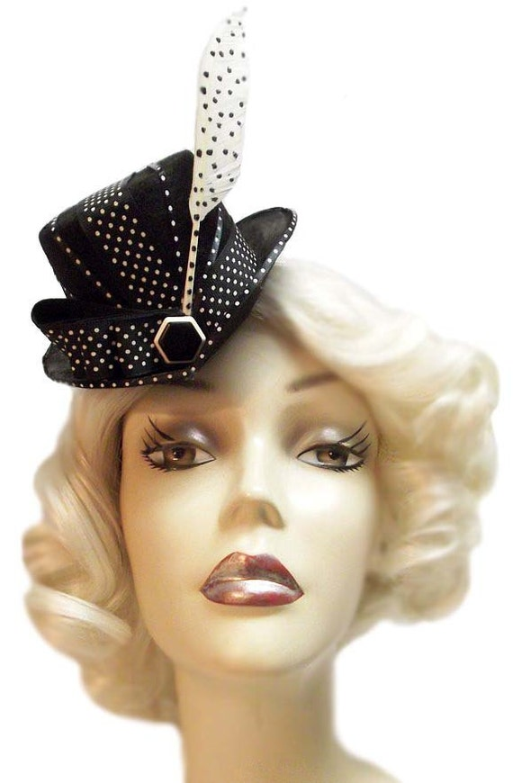 Dot Matrix Mini Gothic Lolita Tea Party Fascinator Steampunk Cocktail Top Hat