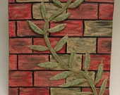 Sculptural Wall Tile, Vines on Brick red, green with copper accents