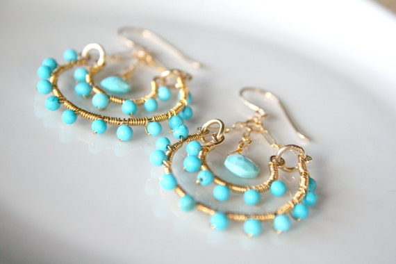Turquoise Earrings - Wire Wrapped Chandelier Hoops