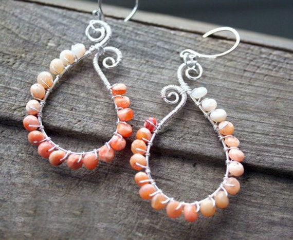 Mexican Fire Opal Earrings -  Paisley, Hand-made, Sterling Silver Wire Wrap, Hand Forged