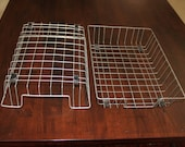 Pair of Vintage Metal Wire Industrial In-boxs / office baskets