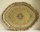 RESERVED for  mkt1801:  Vintage Serving Tray w/ Botanical Pattern