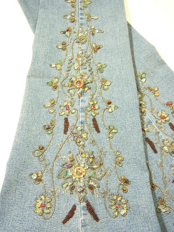 TREASURY ITEM:  Boho Chic bead embroidery embellished jeans