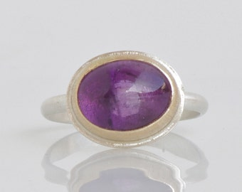 Amethyst Ring in 14k Gold and Sterling