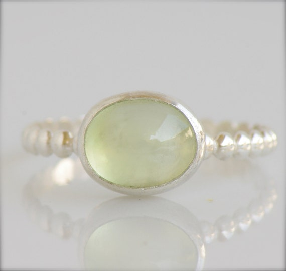 Prehnite Ring in Sterling