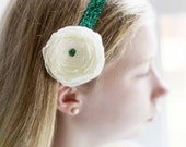 Fighting Sioux Inspired Green and White Floral and Glitter Headband
