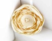 Grace - Ivory Satin Flower Hair Clip