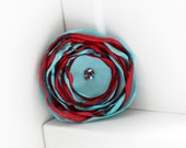 Seuss-I-Q - Red and Blue Flower Hair Clip