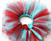 Red and Aqua Tutu - 4T - size 7