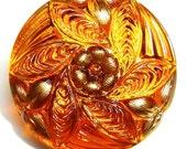 """27mm or 1"""" Amber/Orange/Gold  Czech Glass Button-Iridescent-Spiral Flower"""