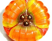 27mm Orange/Yellow/Red Czech Glass Button-Reverse Painted-Flower Shape-Gold Luster