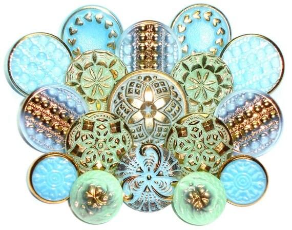 17 Vaseline/Uranium/Green/Aqua Vintage Czech Glass 13-23mm Buttons with Gold Luster-Mixed Lot