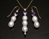 Vintage Ladies Amethyst, Pearl and Diamond 14K Yellow Gold Necklace and Earrings Ensemble