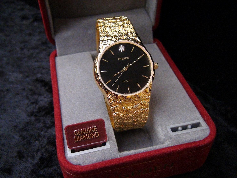 Mens Yellow Gold Plated Gruen Quartz Genuine Diamond Watch