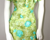 Vintage 1950s/ 1960s GREEN ENVY Hawaiian Tiki  Wiggle Dress