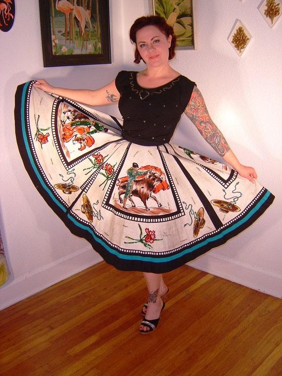 1950s SEQUINED MAGIC Maya De Mexico Matador Top And Full Skirt Set