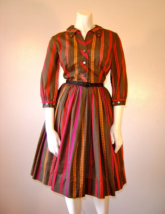 Vintage 1950s Vintage Dress BUTTONS BUTTONS Striped Button Accent Dress By Kerrybrooke of Sears