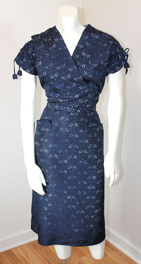 Vintage 1950s EYELET of the BEHOLDER Navy Wiggle Dress