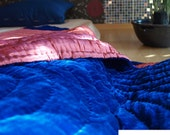 Silk Velvet Padded Blanket - Blue / Wine-SALE30%