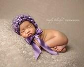 Purple Bonnet with Ribbon