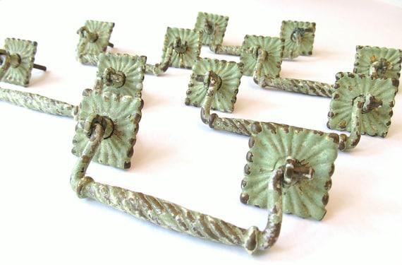 Set of 6 Vintage Green Brass Drawer Pulls