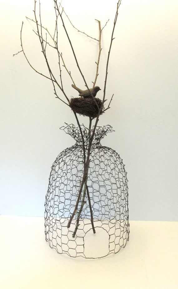 Rusty Patina Wire Bee Skep Cloche