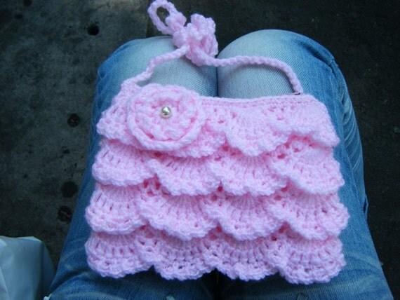 Princess Purse Light pink Crochet, Acrylic yarn - LIST TO ORDER