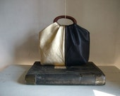 SALE - Leather Handbag in Navy Blue and Metallic Gold   - Ready to Ship - 30% off listed price with coupon code 'SALE30'