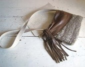 Cross Body Handwoven Purse with Boho Leather and Tassel  - Woven to Order