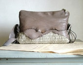RESERVED for Andrea Boho Handbag -  in Taupe Grey Natural Leather and Handweave - OOAK Made to Order.