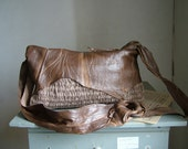 Rustic Leather  Bag - in Fawn and Caramel. Handwoven and OOAK