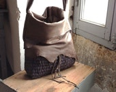 RESERVED  pour Andrea Hobo Tote FINAL ONE in Grey Brown Leather and LinenGrey Handweave - Made to Order