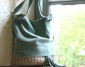 Boho Bag in Duck Egg Blue Suede with Handweave in  Beige  - Ready to Ship