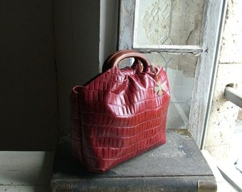 Private Listing for Joan - Red Croc Leather Holdall with Chain Detail and Shoulder Strap