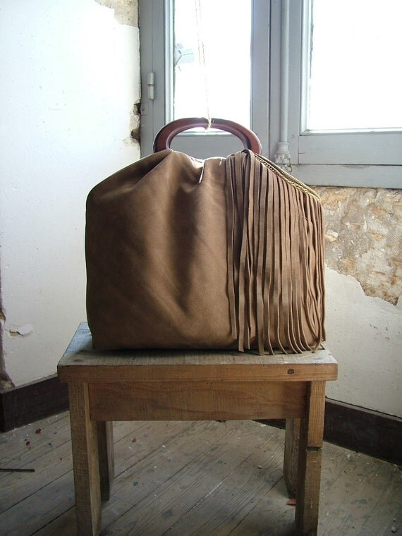 Camel Leather Hobo Purse with Suede Fringe and Vintage Brass - Made to Order.  Other colour options available