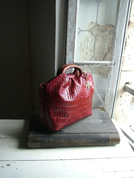 Reserved for Carrie - Red leather Holdall with Shoulder Strap