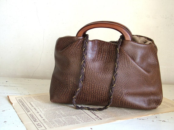 Private listing for Sandy - Leather Handbag with Brown Croc Effect Texture and Pleated Strap