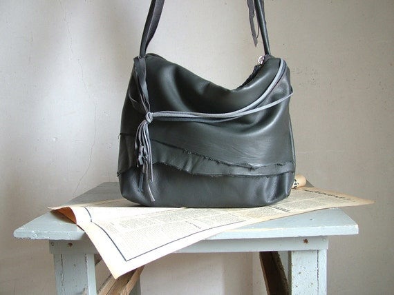 Reserved for Betty - Leather Handbag in Slate Grey - Slouchy Leather with Boho Chic Style - OOAK