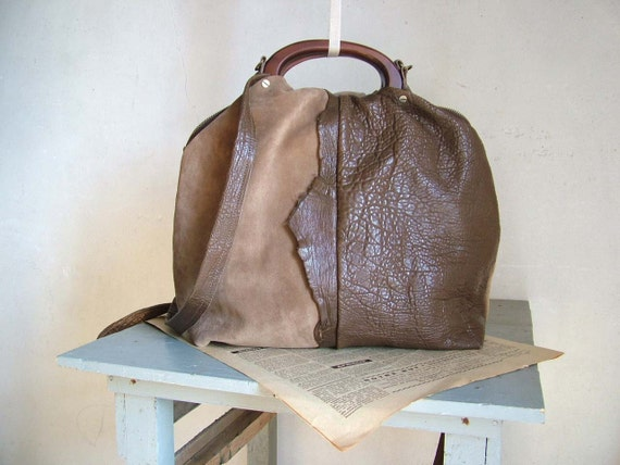 SALE Brown Leather and Suede Boho Handbag  in  Leather and Camel Suede - Chain Detail  30% off listed price with coupon code 'SALE30'