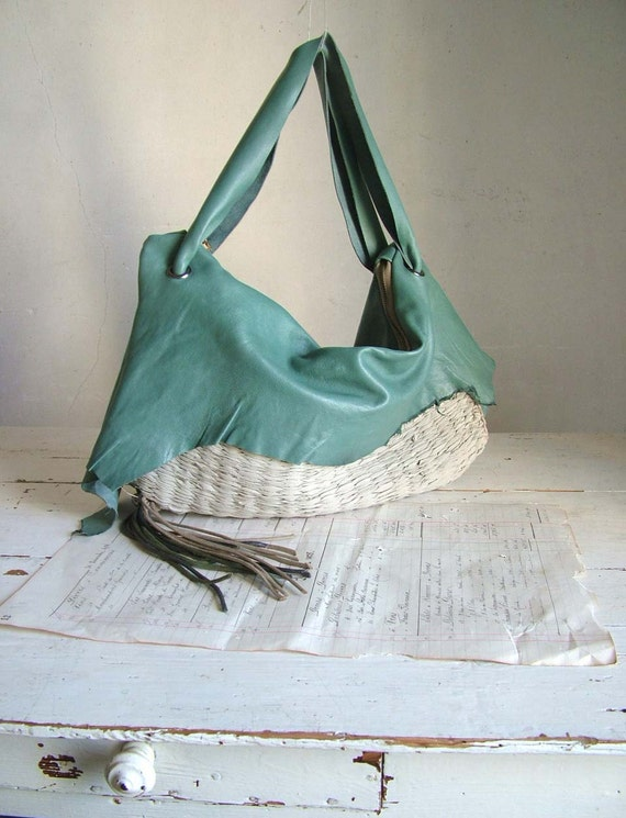 Leather Hobo in Slouchy Sea Green.  Handwoven with Vintage Floral Lining - Ready to Ship OOAK. Reduced to Clear