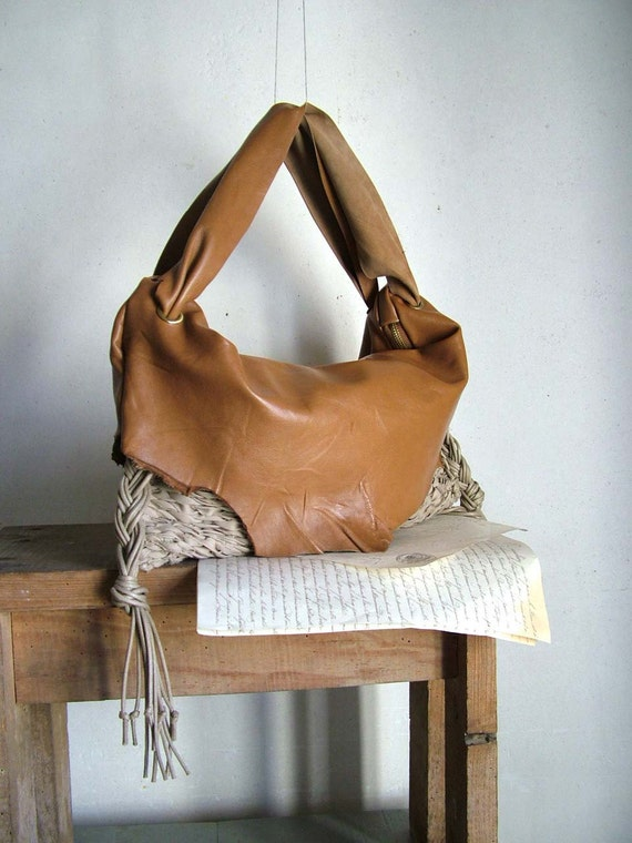 Boho Chic Hobo in Slouchy Caramel Leather and Natural Handweave.  Pleated Tassels - OOAK