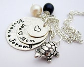 WE LOVE MOM - Hand Stamped Mommy Jewelry - Personalized Sterling Silver Necklace....Beach fun Turtle and Pearls