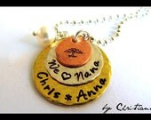 Nana & Me , Hand Stamped Necklace, Grandmother Jewelry  Pendant Personalized Gift