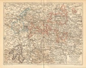 1895 Original Antique Dated Map of the Duchy of Brunswick, Lippe and Waldeck, German Empire