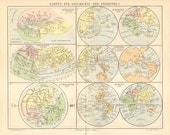 1896 Development of the Map Drawing - Cartography from Antiquity until 1746 Original Antique Map