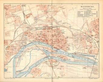 1896 Original Antique City Map of Magdeburg