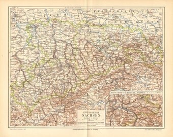 1907 Original Antique Dated Map of the Kingdom of Saxony
