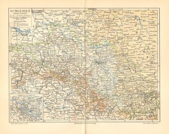 1897 Original Antique Dated Map of the Prussian Province of Silesia